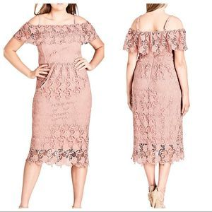 City Chic NWT Spring Day Lace Dress Mauve Pink XXL